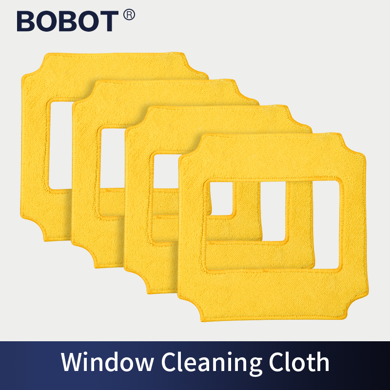 BOBOT 4Pcs Square Microfiber Cleaning Pad Glass Cleaner Robot Tool Window Glass Cleaner Window Vacuum Cleaner