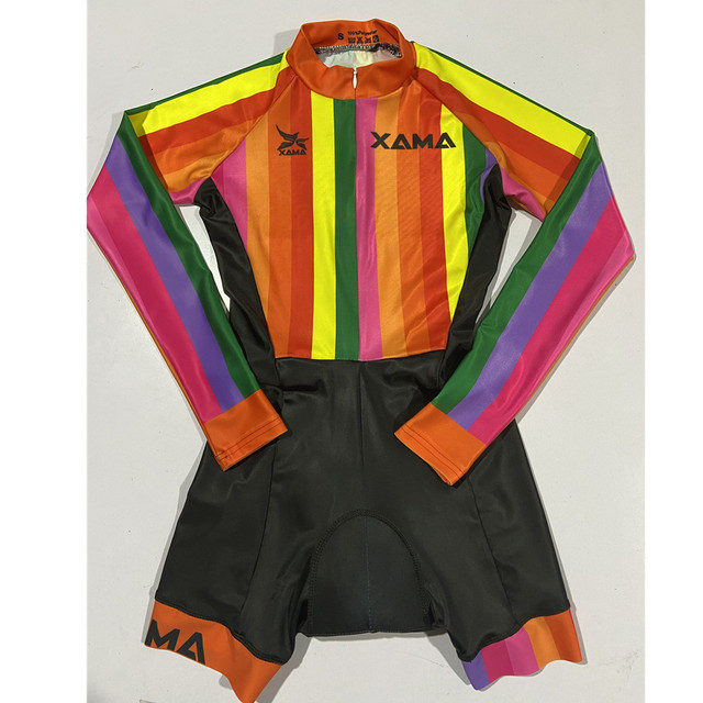 Xama ciclismo verão manga longa das mulheres ciclismo macacão bicicleta wear roupa ciclismo go pro bicicleta sportwear triathlon skinsuit 4