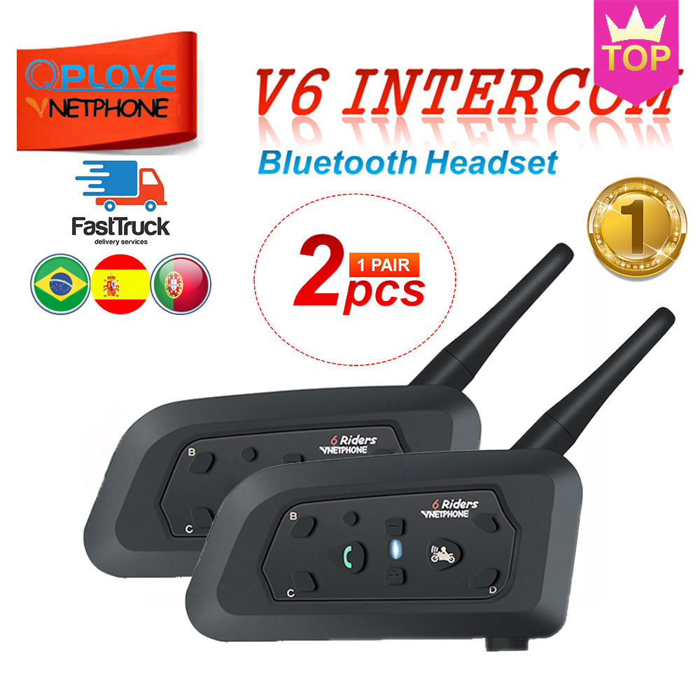 QPLOVE 2PCS VnetPhone V6 Motorcycle Helmet Intercom Bluetooth Helmet Headset 1200M Wireless Talking Supports FM And Music