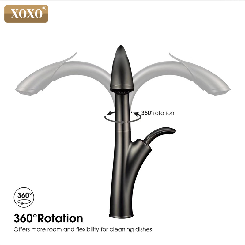 XOXO Kitchen Faucet Pull Out Cold And Hot Kitchen Tap Black Single Hole Single Handle Swivel 360 Degree Water Mixer Tap 83039