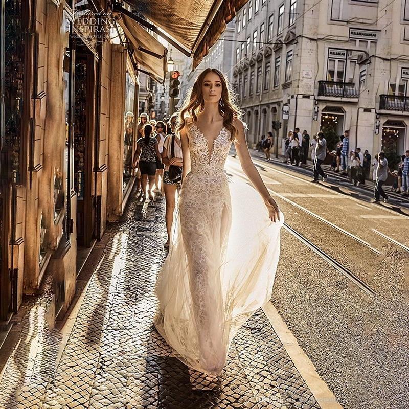 Wedding Dresses 2020 Sexy V Neck Split Backless Boho Wedding Dress Lace Appliques Tulle Beach Bridal Gowns Robe De Mariee