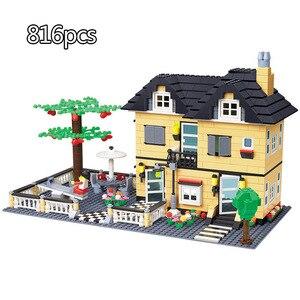 Image 2 - 市アーキテクチャヴィラコテージビルディングブロックセット友人ビーチ小屋モジュラー家村モデルのおもちゃ