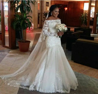 2019 Off The Shoulder Wedding Dress Black Girls Appliques Long Sleeves Country Church Bride Bridal Gown Custom Made Plus Size