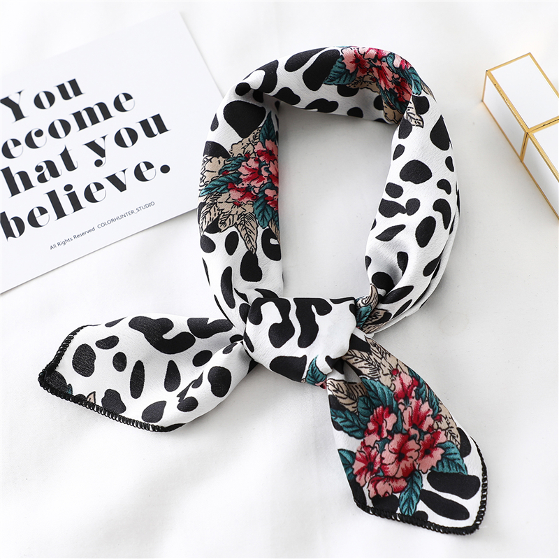 Fashion Women Silk Neck Scarf Hair Band Tie Satin Scarves Small Elegant Bandana Scarfs Foulard Handkerchief 2020 New(China)