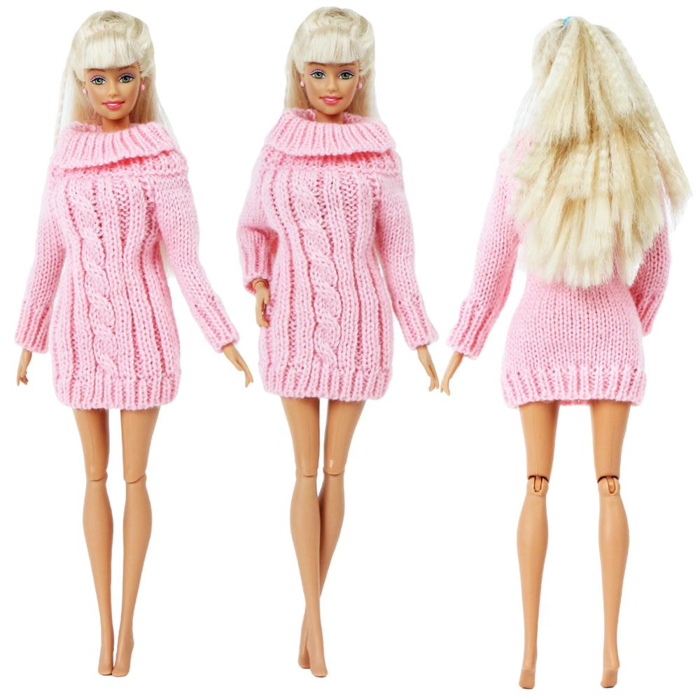 Handmade Elegant Lady Pink Dress Sweater Casual Daily Wear Outfit Skirt Clothes For Barbie Doll Accessories Best Toy