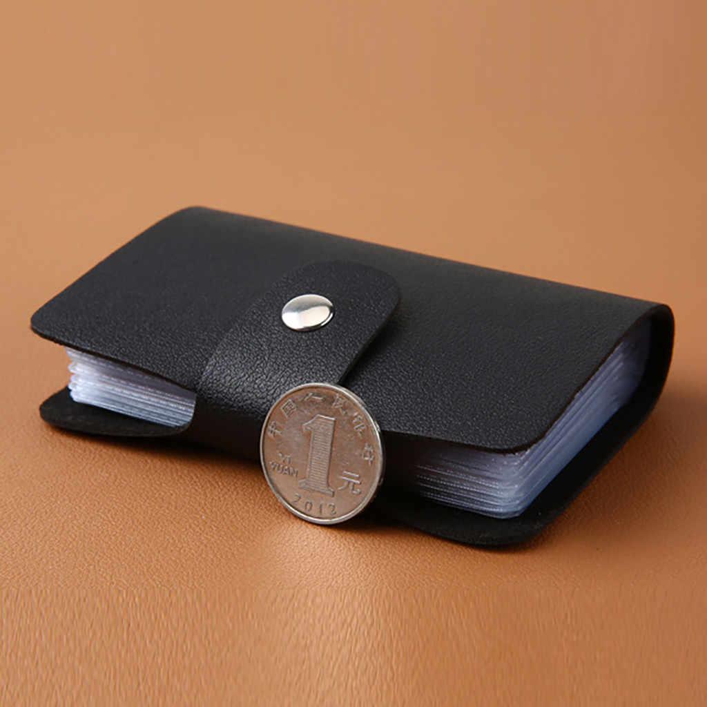 Tarjetero de cuero para hombre y mujer, tarjetero de 12 bits, monedero corto, fino, de alta calidad