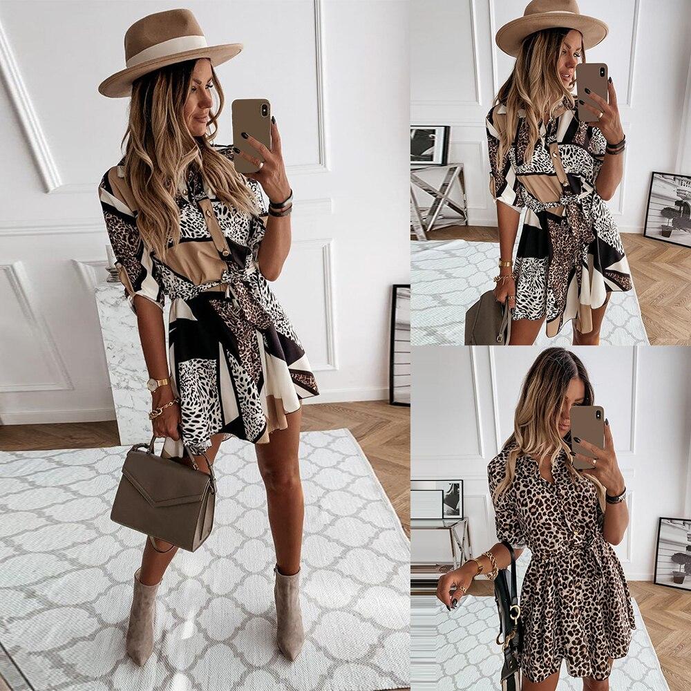 Leopard Mini Autumn Woman Dress