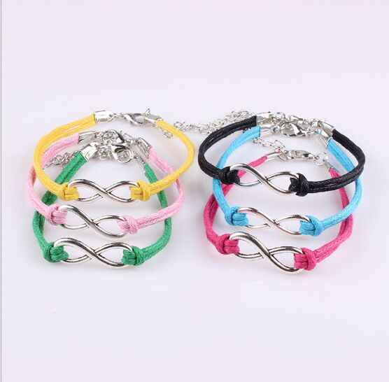 1pcs infinity  handmade Women  Charms Bracelets Leather Bracelet Friendship Gift 192-201