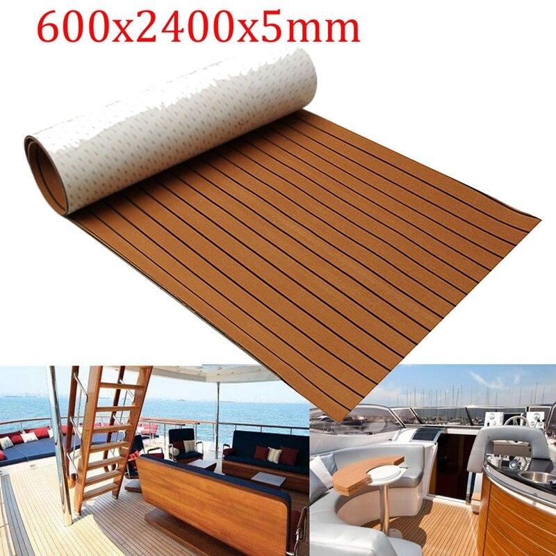 600x2400x5mm Foam Teak Decking EVA Foam Marine Flooring Faux Boat Decking Sheet Accessories Marine Brown Black Self-sticking