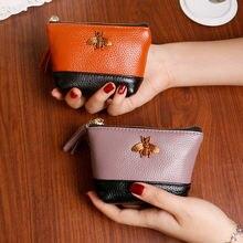 Кожаный прошитый кошелек короткий женский на молнии сумка для