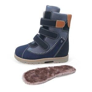 Image 3 - Детские высокие корректирующие ортопедические ботинки, зимняя обувь с меховым подкладом из микрофибры, кожаные зимние сапоги для мальчиков и девочек