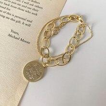 2020 Благородный Модный женский браслет золотого цвета, Очаровательная цепочка с буквами, голова королевы, кулон для монет, браслет, высокое к...