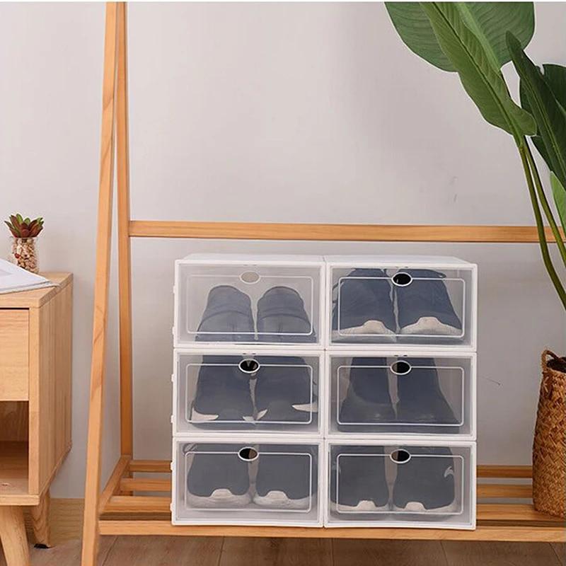 6pcs stacked shoes storage box plastic men shoe box organizer stackable shoe storage rack space saving flip clothing storage bin