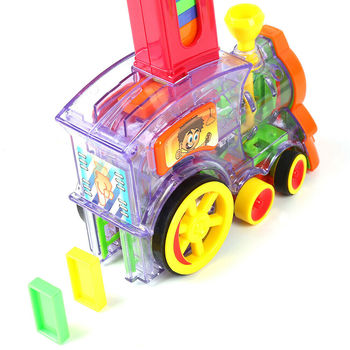 Rally Electronic Train Model Toys with 80Pcs Domino Cards Girls Boys Children Kids Gift PI669