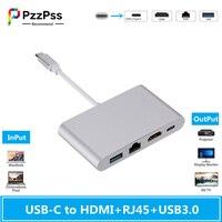 PzzPss USB Type C USB3.1 to HDMI 4K+RJ45 Gigabit Ethernet+USB 3.0 Type C Hub Adapter USB-C Splitter for Macbook Air Pro Samsung