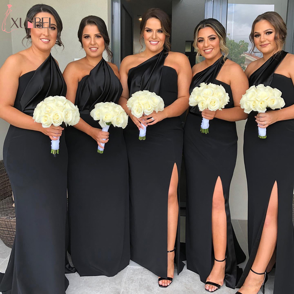 Sexy Long Split Black Bridesmaid Dresses For Party Dresses One Shoulder Party Dresses Robe Demoiselle D'honneur