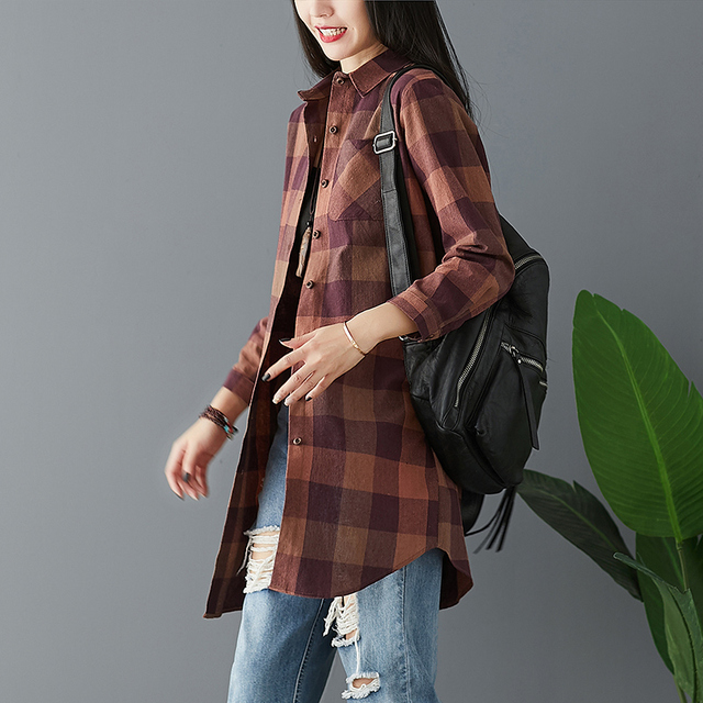 #0447 Spring Long Sleeve Shirts Women Plus Size Casual Loose Cotton Linen Shirt Female Summer Plaid Tops Blouse Vintage Retro 3