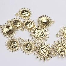 6 unids/lote de aleación de Zinc de flores de sol encantos colgantes para hacer DIY colgante de moda colgante pendientes Accesorios