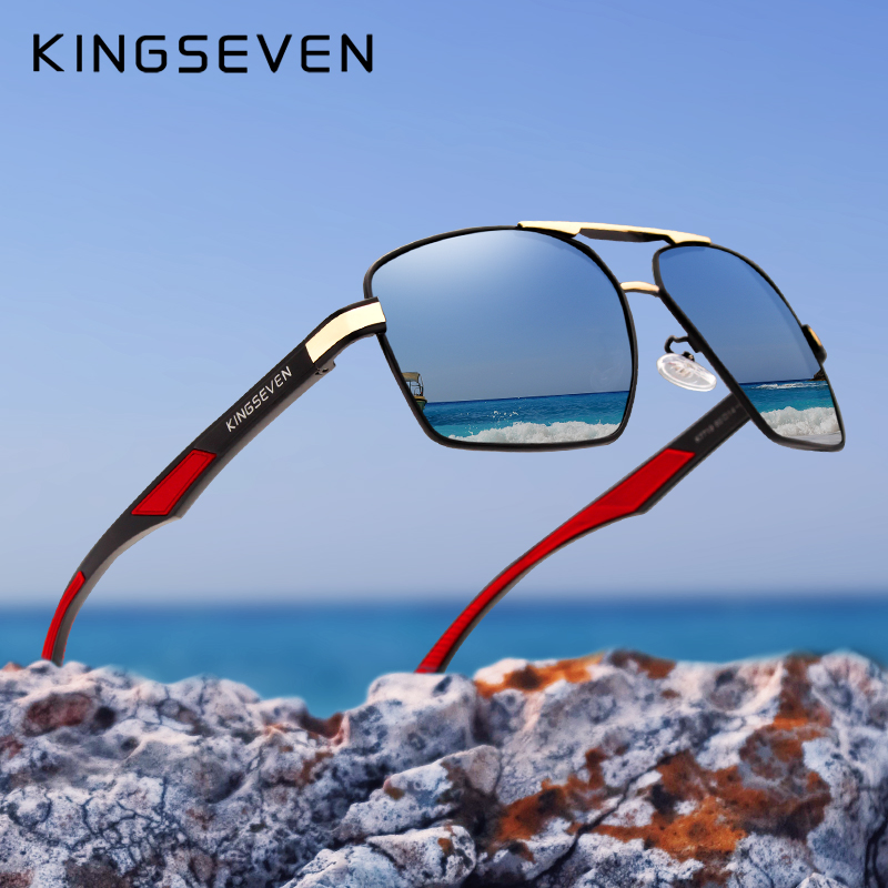 KINGSEVEN Aluminum Men's Sunglasse Polarized Lens Brand Red Design Temples Sun glasses Coating Mirror Glasses Oculos de sol 7719-in Men's Sunglasses from Apparel Accessories on AliExpress