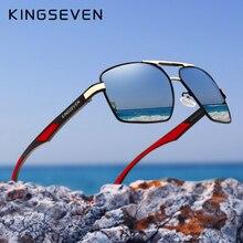 Мужские солнцезащ. Очки с поляриз. Линзами KINGSEVEN, черно серые солнцезащитные очки с поляризованными зеркальными линзами в алюминиевой оправе с дужками, лето 7719