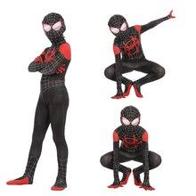 Super Hero Spidey Spider-Man: Into the Spider-Verse Miles Morales Jumpsuit Cosplay Spiderman Costume Bodysuit Zentai Suit