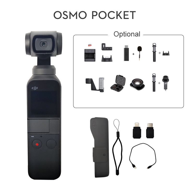 DJI Osmo Pocket 3 axis Stabilized Handheld Camera with Smartphone 4K 60fps Video option Expansion Kit/Micro SD Card In StockHandheld Gimbals   -