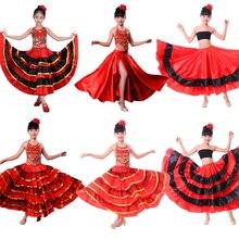 Танцевальное платье для девочек; испанская юбка для фламенко и цыганки; платья для сцены и хора для девочек; Испанский костюм для детей ростом от 100 до 150 см