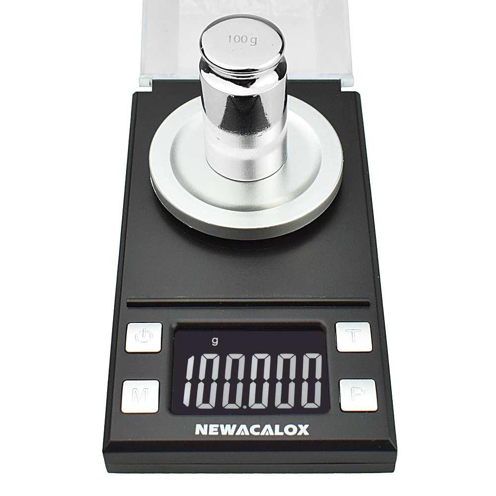 NEWACALOX 50g/100g/0.001g LCD Digital Jewelry Scales Lab Weight High Precision Scale Medicinal Portable Mini Electronic Balance