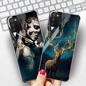"""Image 1 - Tempered Glass Case For Samsung A02s Cases Silicon Painted Capas For Samsung Galaxy A02s A 02s SM A025F 6.5"""" Hard Cartoon Bumper"""