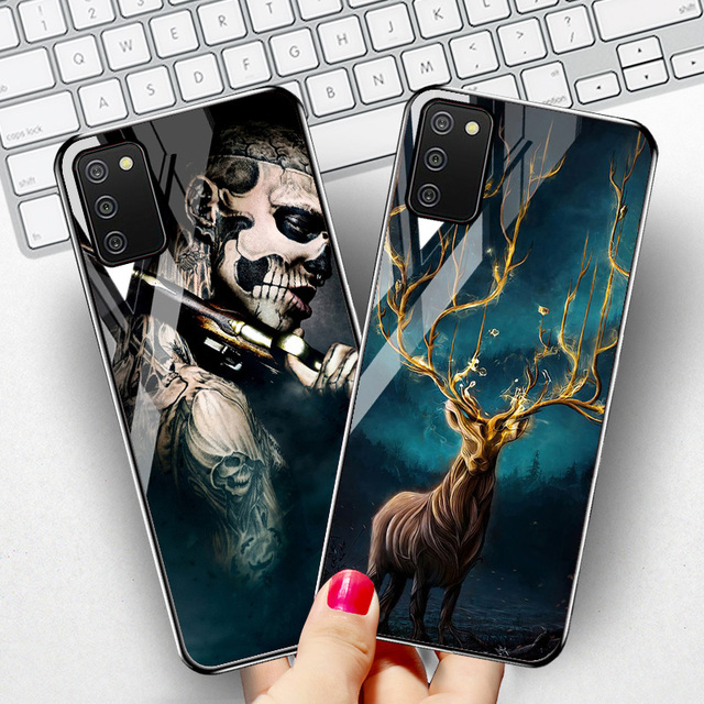 """Tempered Glass Case For Samsung A02s Cases Silicon Painted Capas For Samsung Galaxy A02s A 02s SM A025F 6.5"""" Hard Cartoon Bumper"""