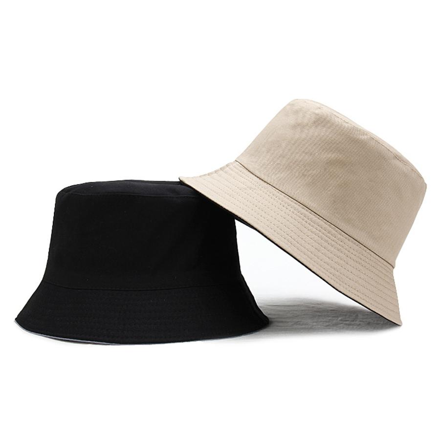 New Double-sided Bucket Hats Unisex Pure Color Sun Hat Basin Cap Women Panama Outdoor Fisherman Hat Men Casual Visor Wholesale