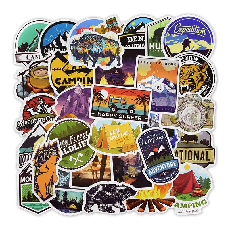 50Pcs Outdoor Adventure Stickers for Laptop Car Motorcycle Skateboard Fridge