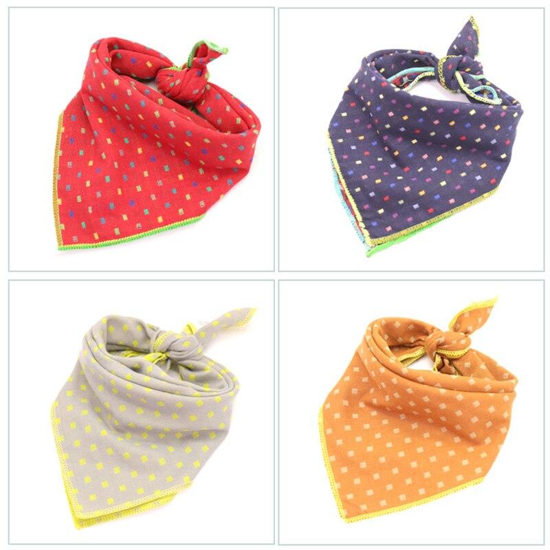 10pcs New Classic Lattice Pet Double Layer Triangular Bandage Pet Dog Saliva Towel  Scarf Collar Adjustable Dog Accessories