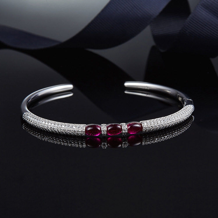 Bracelet de bonbons de gemmes roses de conception de mode pour les femmes cadeau de mariage zircon cubique 925 bracelet ouvert en argent sterling bijoux Monaco