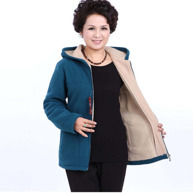 Middle-aged Lady Hooded Coat 2019 Autumn Winter Plus Size 5XL Polar Fleece Slim Women Jacket Warm Cotton Short Casual Tops A647