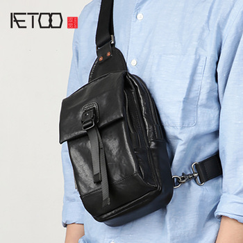 AETOO Leather men's chest bag, head leather casual trend one shoulder bag, simple sports stiletto bag aetoo leather men s chest bag head leather fashion casual shoulder bag trendmen s stiletto bag