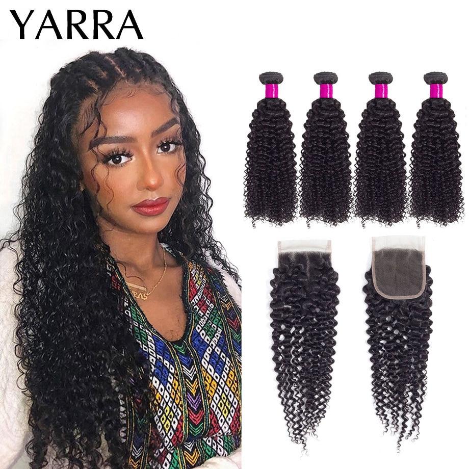 Kinky Curly Bundles with Closure Brazilian Hair Weave Kinky Curly Human Hair Bundles With Closure 4x4 Pre Plucked Remy Yarra