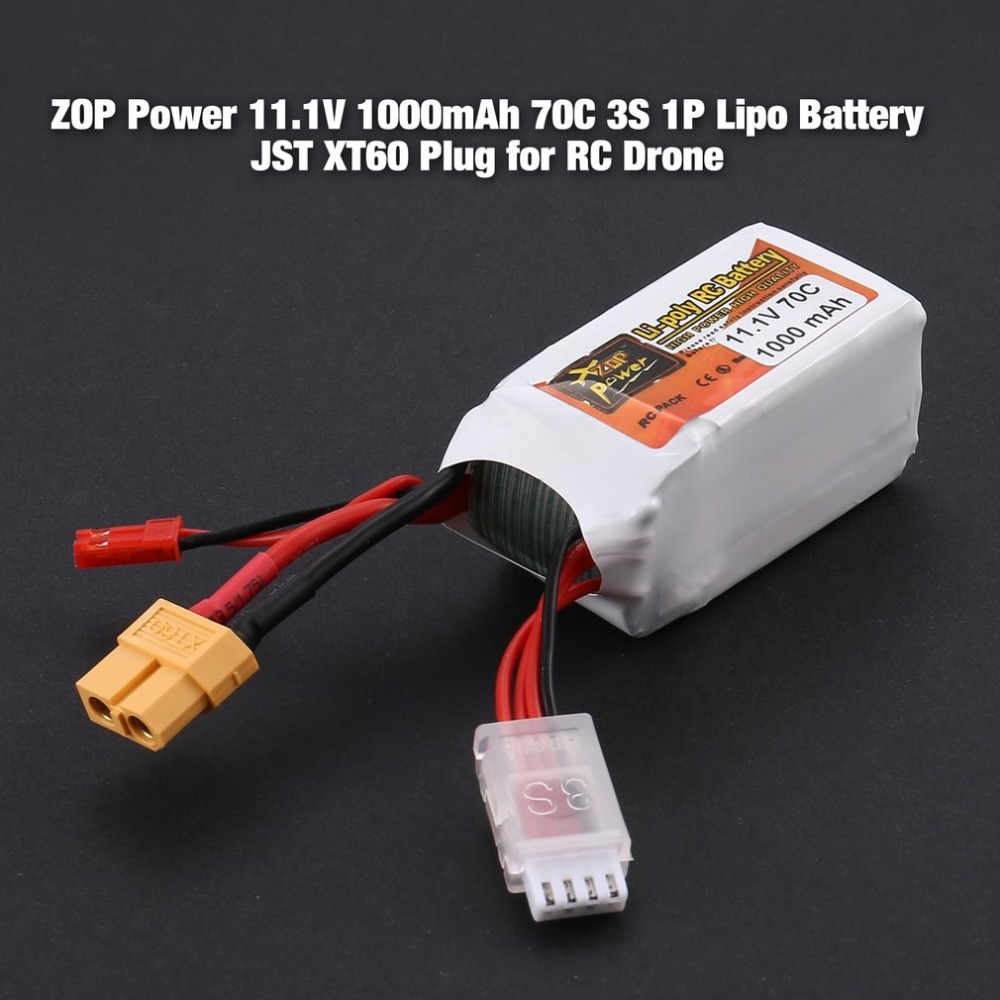 ZOP Power 11.1V <font><b>1000mAh</b></font> 70C <font><b>3S</b></font> 1P <font><b>Lipo</b></font> Battery JST XT60 Plug Rechargeable for RC Racing Drone Helicopter Car Boat Model image
