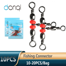 Barrel-Ring Fishhook Fishing-Connector DONQL Lure-Line Rolling with Beads 10/20pcs 3-Way