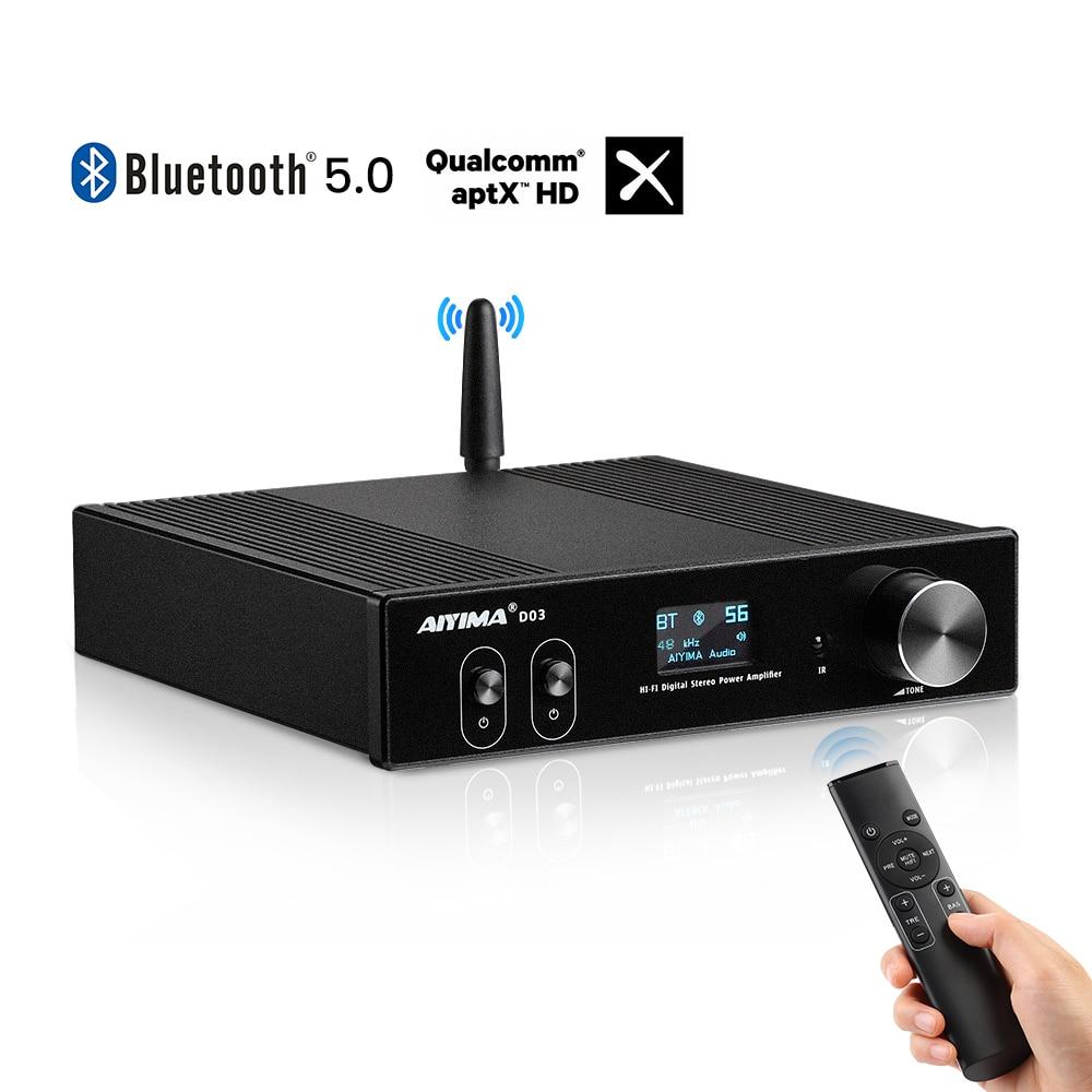 AIYIMA D03 HiFi Bluetooth 5,0 аудио усилитель 2,1 беспроводной цифровой звуковой усилитель сабвуфера усилитель USB DAC Stereo Audio150Wx2