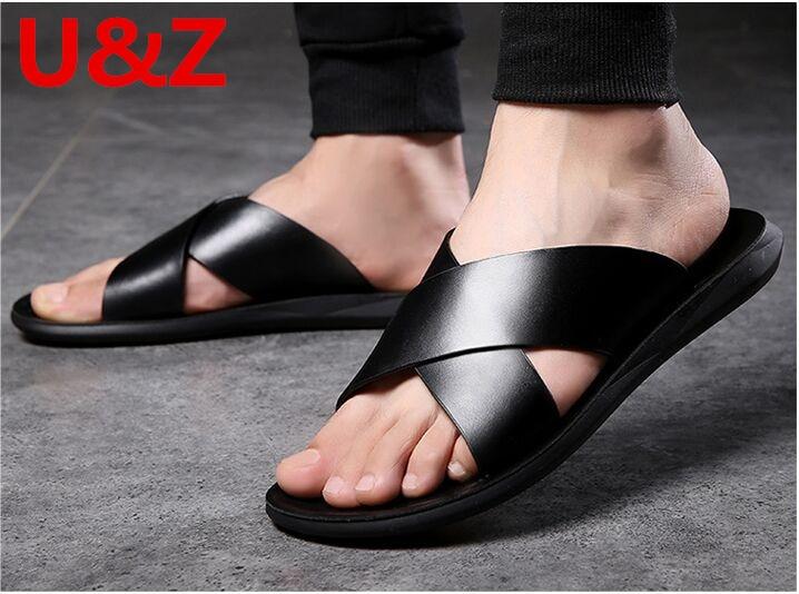 Genuino Piel De Becerro sandalias de los hombres hombre zapatillas de verano genial calzado de playa para hombre cómodo sandalias de estilo de deportes zapatillas Zapatos KATELVADI, sandalias de gladiador negras para mujer, sandalias de verano para mujer, Sandalias de tacón alto de 8CM con correa en el tobillo, sandalias para mujer, K-317