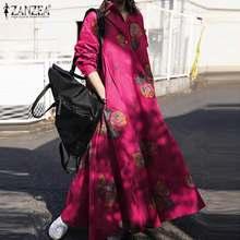 Automne rétro robe de soleil imprimée florale ZANZEA femmes Vintage à manches longues Maxi robe longue décontracté revers cou robes lâches caftan 7