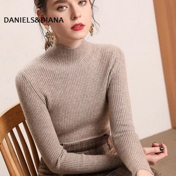 Brand Knitted Jumper Autumn Winter Tops Turtleneck Pullovers Casual Sweaters Women Shirt Long Sleeve Short Slim Sweater Girls