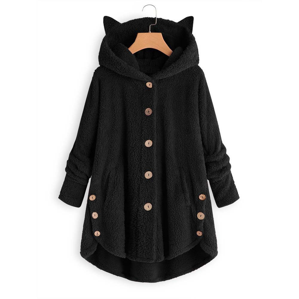 H858f07c536904cd283d411fb7e04673dT Women Flannel Coat Pockets Solid fleece Tops Hooded Pullover Loose Hoodies Plus Size Cat Ear Cute Womens Warm Sweatshirt 2019