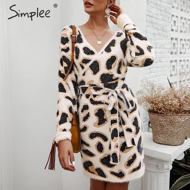 Simplee Vrouwen luipaard gebreide jurk Lange mouwen v hals bodycon trui jurk Streetwear kantoor dame riem herfst winter jurk