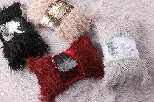 Battilo Sequin Bow Cushion Cover Throw Pillow Cases Plush Furry Soft Linen Lumbar Pillow Cover Sofa