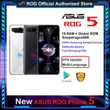 ROM Global teléfono móvil 5G ASUS ROG, 16GB de RAM, Snapdragon 888, carga rápida, 65W de batería, 6000mAh, ROG5, para juegos profesionales