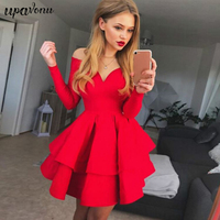 Women Sexy Evening Party Cascading Ruffle Dress Ladies Off Shoulder Slim V Neck Mini Solid Long Sleeves Bodycon Clubwear Dress