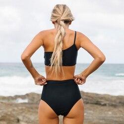 Kobiety stałe Bikini Sexy strój kąpielowy na jedno ramię czarne Bikini Set stroje kąpielowe lato zakrętka tubki strój kąpielowy Femlae kostiumy kąpielowe Biquini 3