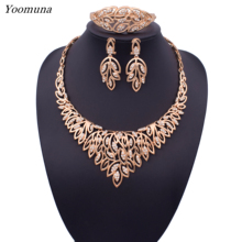 Dubai Classic women wedding jewelry set silver / gold color leaf fine necklace earrings jewellery sets for women gift 2019 new classic solid color leaf hairgrip for women
